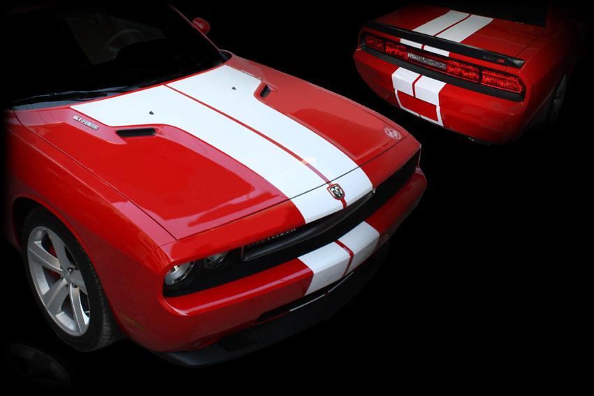 Dodge Challenger Bonnet Roof Trunk Stripes on Dodge Ram Stripes
